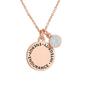 Karma October Birthstone Rose Gold Necklace