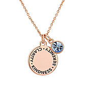 Karma September Birthstone Rose Gold Necklace