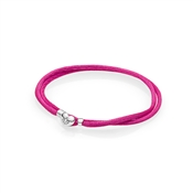 PANDORA Hot Pink Moments Fabric Cord Bracelet