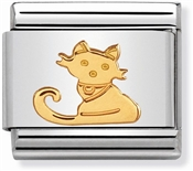 Nomination Classic Gold Seated Cat Charm