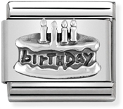 Silver Birthday Cake Charm by Nomination