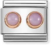 Nomination Rose Gold Pink Opal Double Stone Charm