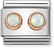 Nomination Rose Gold White Opal Double Stone Charm