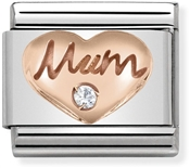Nomination Rose Gold Mum & Heart Charm