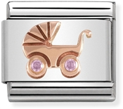 Nomination Rose Gold Pink Baby Pram Charm