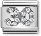 Nomination Silver Crystal 30 Birthday Charm
