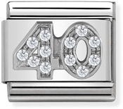 Nomination Silver Crystal 40 Birthday Charm