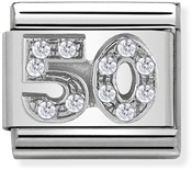 Nomination Silver Crystal 50 Birthday Charm
