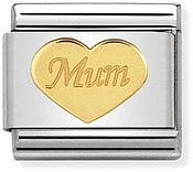 Gold Mum Heart Charm by Nomination