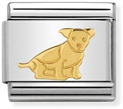 Nomination Gold Sitting Dog Charm