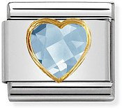 Nomination Light Blue & Gold Heart Charm