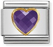 Nomination Violet & Gold Heart Charm