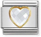 Nomination White & Gold Heart Charm