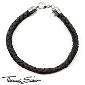 Thomas Sabo Black Woven Leather Bracelet