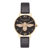 Olivia Burton Midi 3D Bee Black & Gold Watch