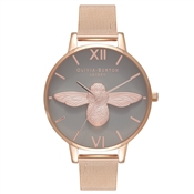 Olivia Burton 3D Bee Grey & Rose Gold Mesh Watch