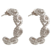 Olivia Burton Silver Floral Charm Hoop Earrings