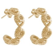 Olivia Burton Gold Floral Charm Hoop Earrings