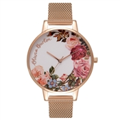 Olivia Burton English Garden Rose Gold Mesh Watch