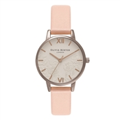 Olivia Burton Lace Detail Dusty Pink & Silver Watch