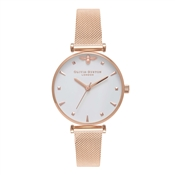 Olivia Burton Queen Bee Rose Gold Mesh Watch