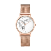 CLUSE La Roche Petite Mesh Rose Gold & White Marble Watch