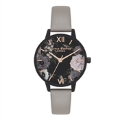 Olivia Burton After Dark Floral Matte Black & Grey Watch