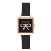 Olivia Burton 3D Vintage Bow Black & Rose Gold Square Watch