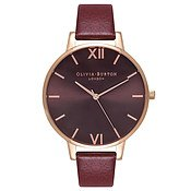 Olivia Burton Chocolate Dial Burgundy & Rose Gold Watch