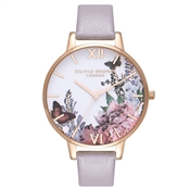 Olivia Burton Winter Garden Grey Lilac & Rose Gold Watch
