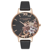 Olivia Burton Marble Floral Black & Rose Gold Watch