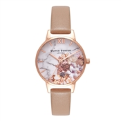 Olivia Burton Marble Floral Sand & Rose Gold Watch