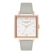 Olivia Burton Big Square Dial Grey & Rose Gold Watch