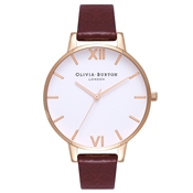 Olivia Burton Big Dial White Dial Burgundy & Rose Gold