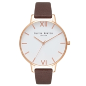 Olivia Burton White Dial Chocolate & Rose Gold Watch