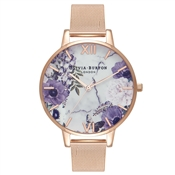 Olivia Burton Marble Floral Rose Gold Mesh Watch