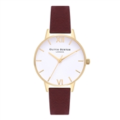 Olivia Burton Midi White Dial Burgundy & Gold Watch