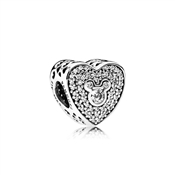 PANDORA Disney Mickey & Minnie Sparkling Heart Charm