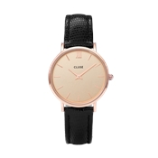 CLUSE Minuit Rose Gold & Black Lizard Watch