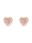 Ted Baker Primm Pavé Crystal Heart Rose Gold Earrings