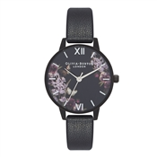 Olivia Burton After Dark Floral Matte Black Watch