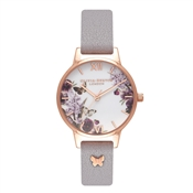 Olivia Burton Enchanted Garden 3D Butterfly Embellished Grey Lilac Watch