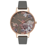 Olivia Burton Marble Floral Dark Grey & Rose Gold Watch