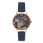Olivia Burton Signature Floral Navy & Rose Gold Watch