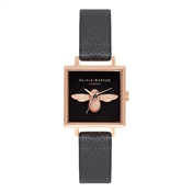 Olivia Burton Square Dial 3D Bee Black & Rose Gold Watch