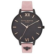 Olivia Burton 3D Bee Embellished Strap Rose & Matte Black Watch