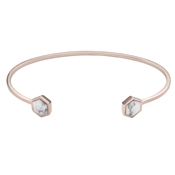 CLUSE Idylle Rose Gold Marble Hexagons Open Cuff Bangle