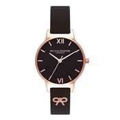 Olivia Burton 3D Vintage Bow Embellished Strap Black Watch