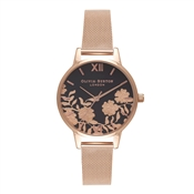 Olivia Burton Lace Detail Black & Rose Gold Watch