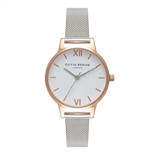 Olivia Burton Midi Rose Gold & Silver Mesh Watch